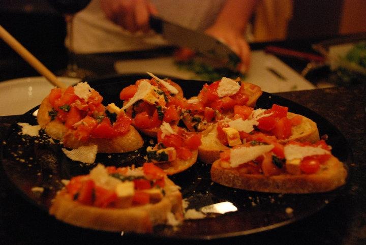 my bruschetta! on roasted garlic bread | happy tummy | Pinterest