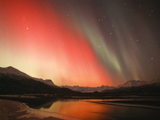 mountains landscapes nature aurora borealis Alaska