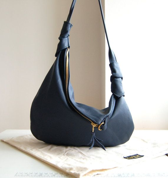 Rosaire, navy blue leather hobo shoulder bag, handmade.. 160.00, via ...