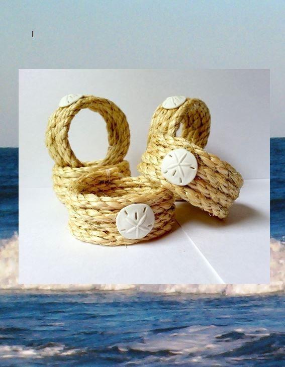 Beach napkin rings rope napkin holders coastal decor 6 piece set - Coastal napkin holder ...