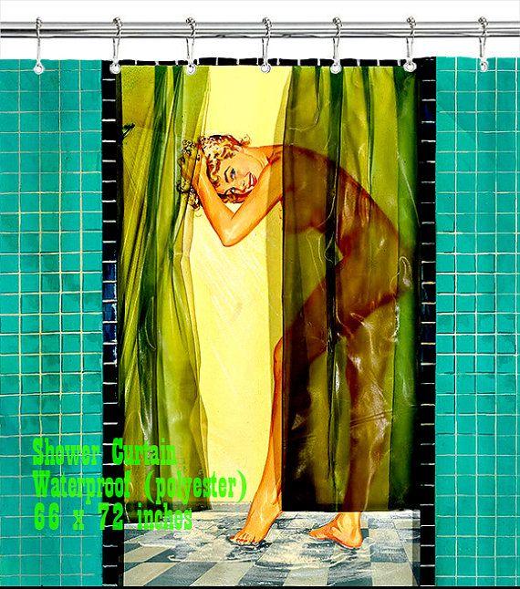 retro pin up girl shower curtain custom design