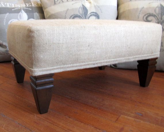ottoman footstool coffee table burlap furniture on Etsy, $249.00