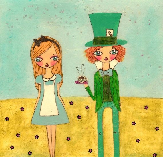alice and the mad hatter lithography printmaking
