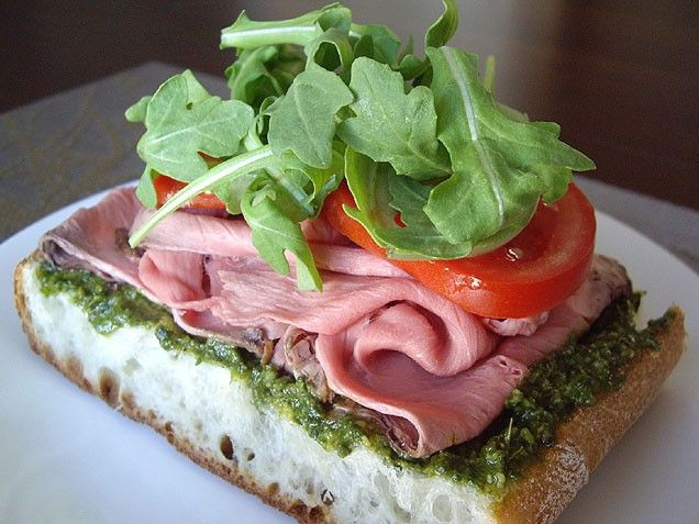 Open-Faced Roast Beef And Pesto Sandwich Recipe — Dishmaps