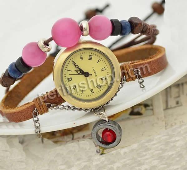 Armbanduhr Zifferblatt Holz ~ Kuhhaut Armbanduhr, mit Zinklegierung Zifferblatt & Wachsschnur & Hol