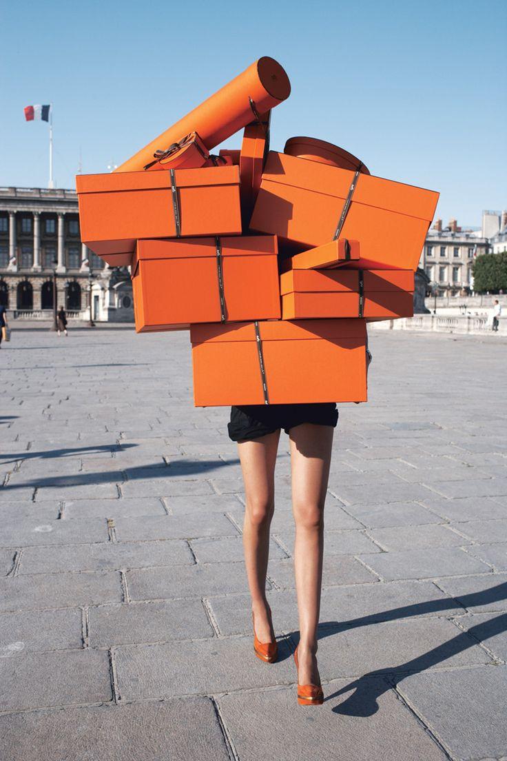 Orange boxes, orange shoes