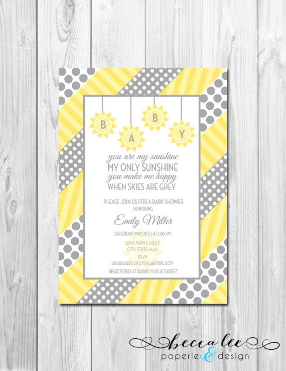 you are my sunshine baby shower invitation grey and yellow polka do