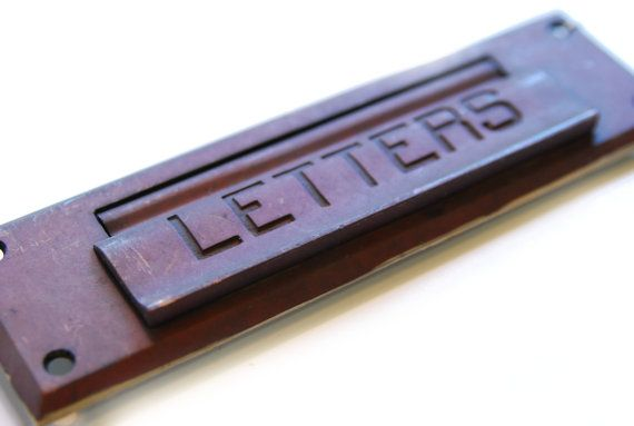 Vintage Brass Red Letter Mail Door Slot E425 Letters By