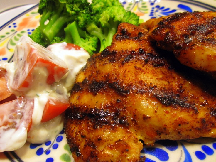 Grilled Chicken, Broccoli, and Tomatoes with Blue Cheese Dressing by ...