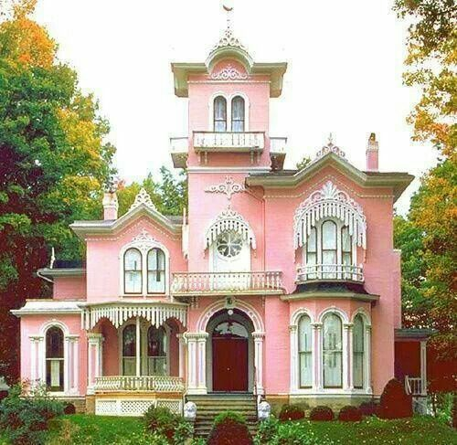 beautiful pink painted house the painted ladies pinterest
