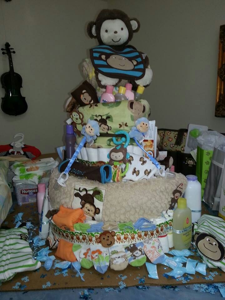 Monkey theme diaper cake baby shower ideas pinterest - Baby shower cakes monkey theme ...