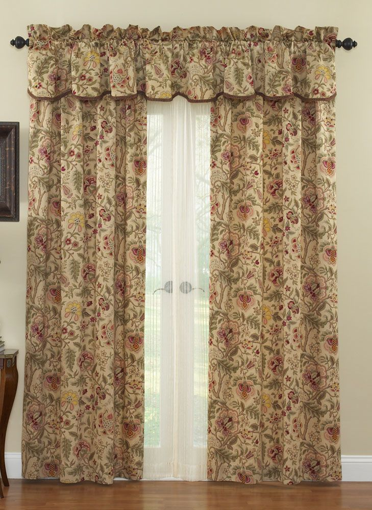 Imperial Dress Antique curtains by Waverly. Jacobean pattern of browns ...