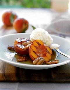 Grilled Peaches w/Greek Yogurt, Warmed Honey & Pecans- My fav summer ...