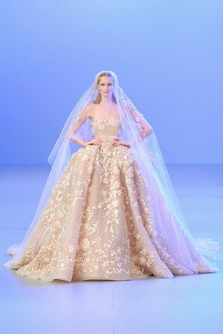 Blush couture wedding gown elie saab s s couture show ball gown