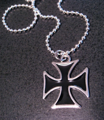 black iron cross chain link necklace for