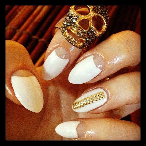 white and gold stiletto nails stiletto nails