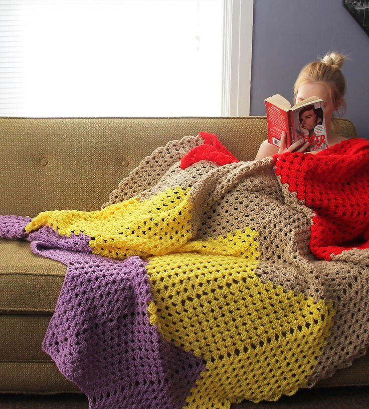 Crochet Zigzag Blanket : Colorful Zig Zag Crochet Blanket Throws Pinterest