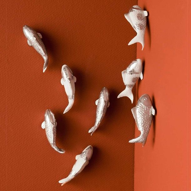Wall koi fish 10pc silver spot for Silver koi fish