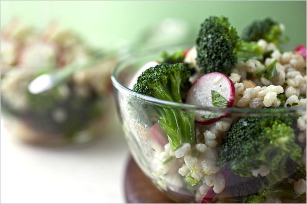 barley and broccoli salad also includes chickpeas or edamame herbs and ...