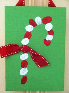 Finger print candy cane.  I added a few drops of peppermint oil to my paint.