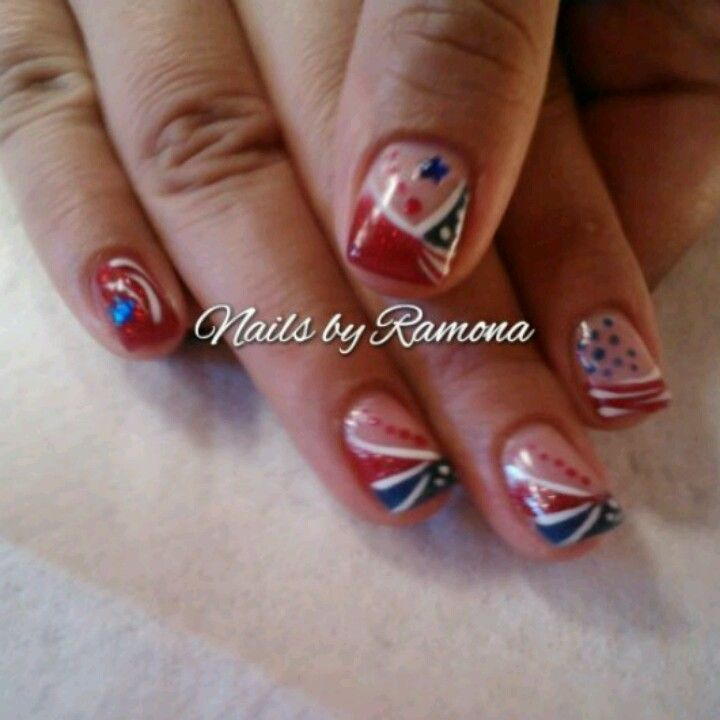 4th of july gel nail art