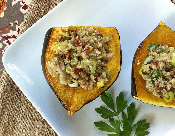Roasted Acorn Squash Bowls with Quinoa and Pecan Stuffing - Almonds ...