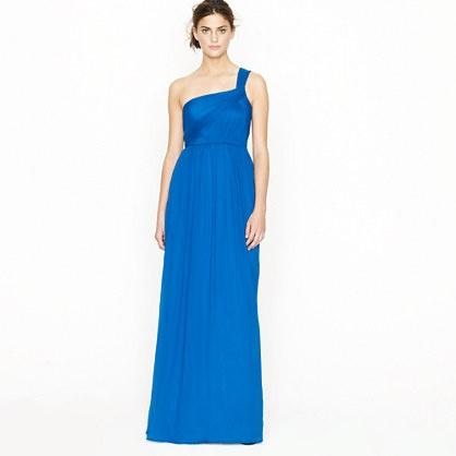 Lucienne long one-shoulder dress in silk chiffon  jcrew.com