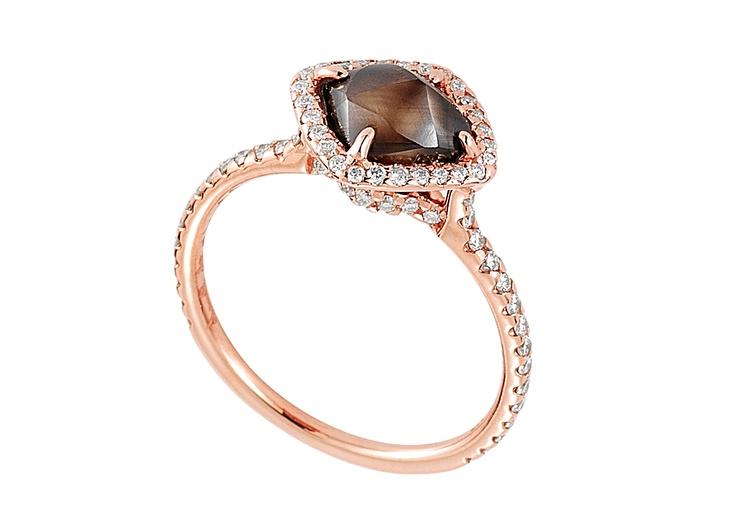 Auburn rough diamond set in 18k pink gold. So unique and memorable!