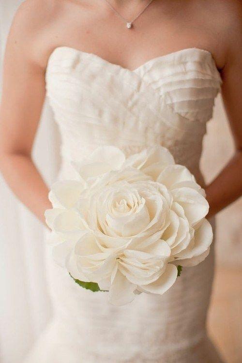 Single stem white wedding bouquet {Photo by Scott Andrew Studio via Project Wedding}