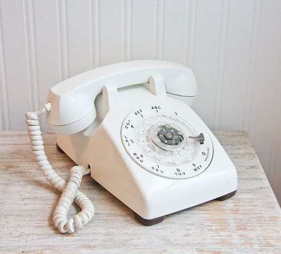 Rotary Phone, White Telephone, Western Electric, Mid Century Home Decor, Desk Phone, Retro Telephone