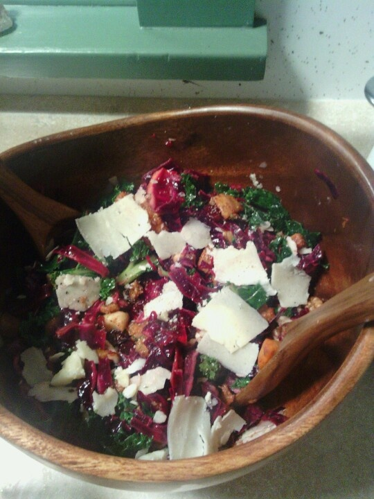 Kale Salad With Butternut Squash And Almonds Recipe — Dishmaps