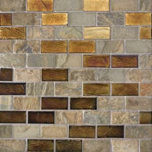 Studio E Edgewater Sunset Cliffs 1x2 10 5/8 in. x 10 5/8 in. Glass and Slate Floor & Wall Mosaic Tile $19.79 each