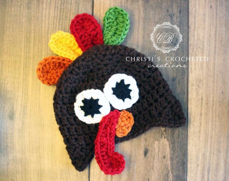 Crochet Turkey Hat- Ear Muffs- Turkey Hat- Thanksgiving ...