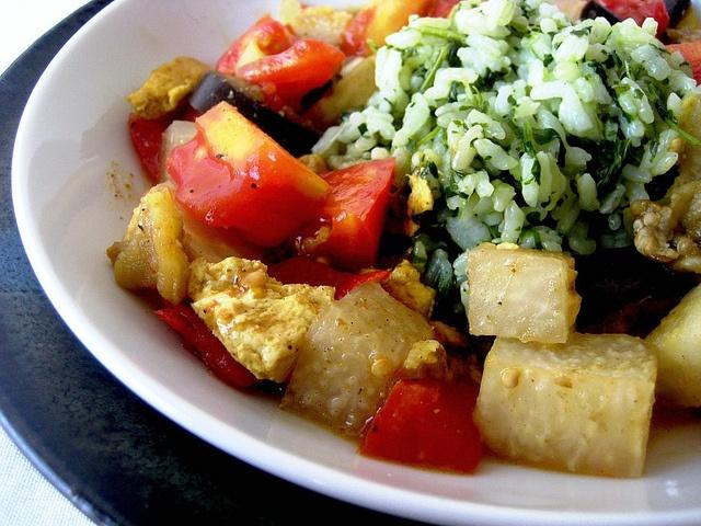 Coconut Curried Tofu, Eggplant, and Kohlrabi with Green Jasmine Rice