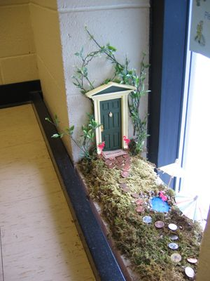 Stairwell fairy door - could work on any window sill.