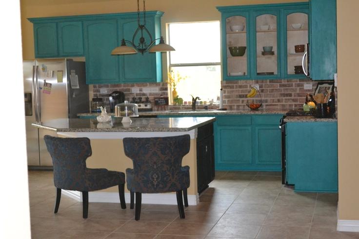 Turquoise Kitchen cabinets  kitchen  Pinterest