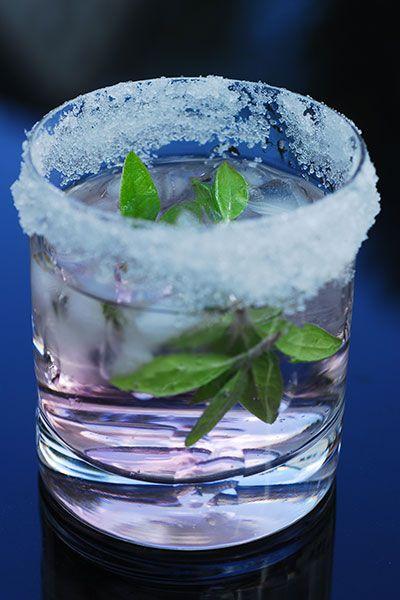 ... rhubarb liqueur 1 oz. light smooth tequila Fresh basil Lemon juice