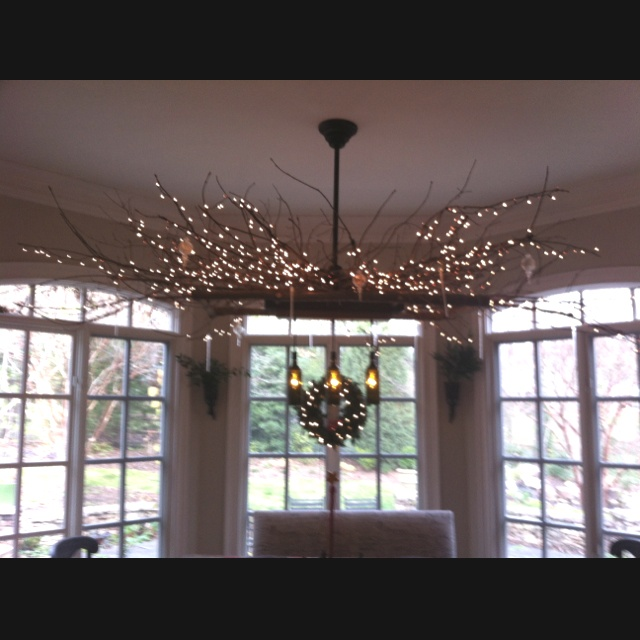 Light fixture made of tree branches and three wine bottles - Tree branch light fixture ...