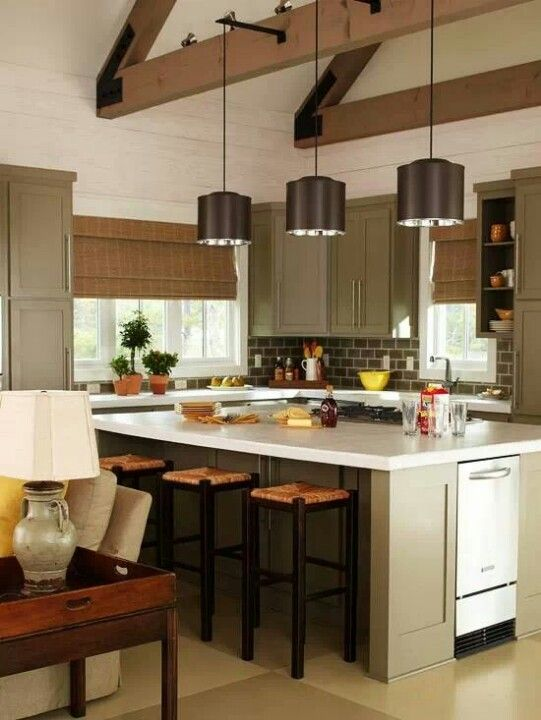 Olive Green Kitchen Cabinets House Stuff Pinterest