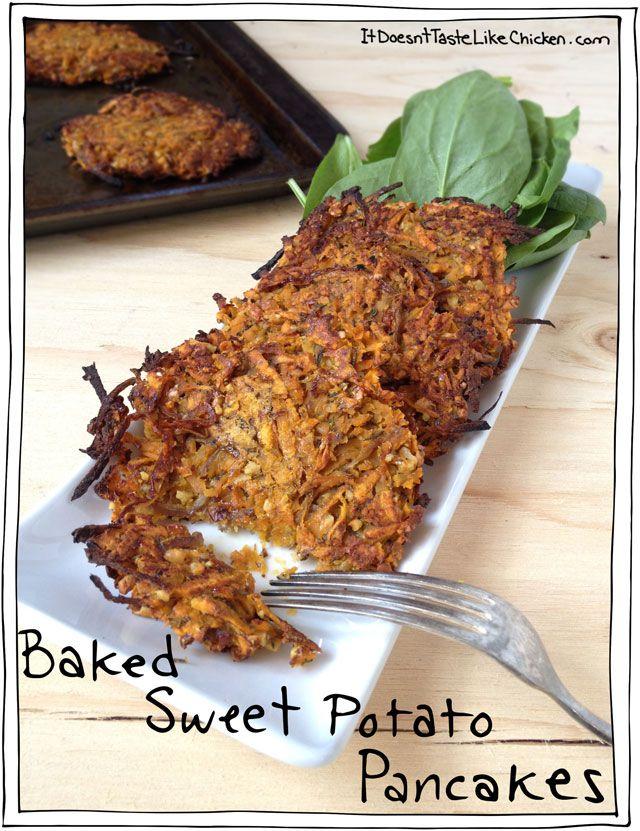Baked Sweet Potato Pancakes. Vegan, gluten free, oil free, whole food ...