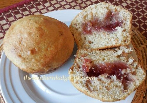 Peanut Butter and Jelly Muffins -- homemade peanut butter muffins with ...