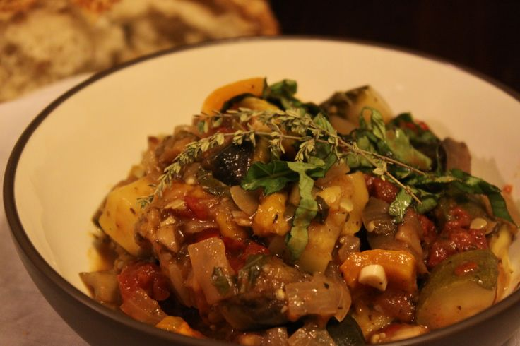 Fresh herbs and colorful vegetables combine in a vegetarian comfort ...