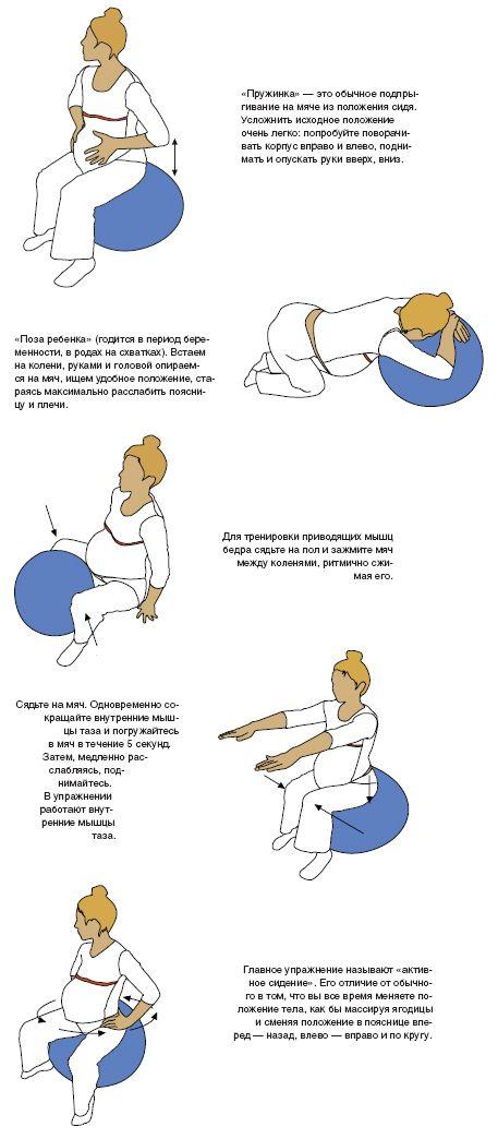 Упражнение для спины на фитболе для беременных 58