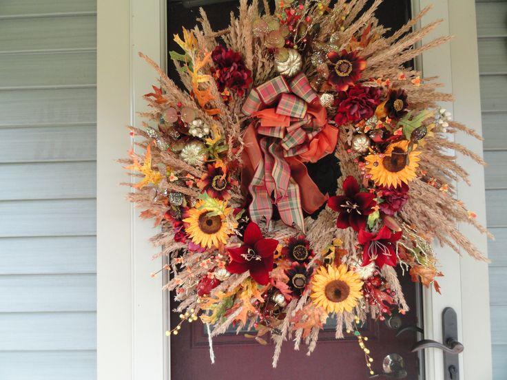 Front Door Wreath Fall Wreaths Pinterest