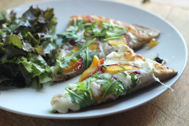 Goat Cheese, Peach, Arugula, Fig, & Rosemary Pizza with Fig Preserves ...