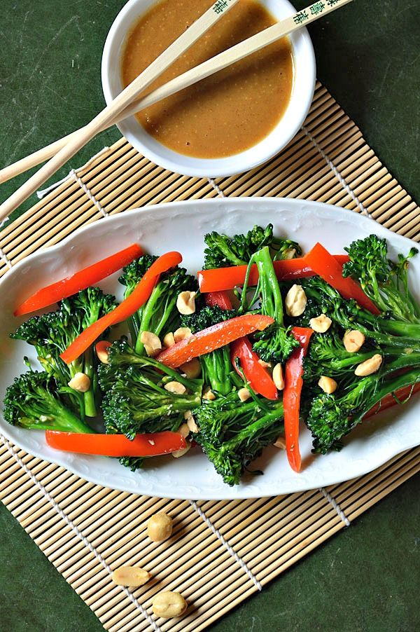 vegan broccoli salad with spicy sesame peanut dressing vegan broccoli ...