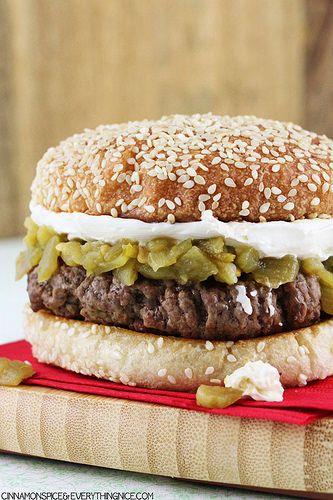 Cream Cheese & Green Chile Burgers #burgers #tex-mex
