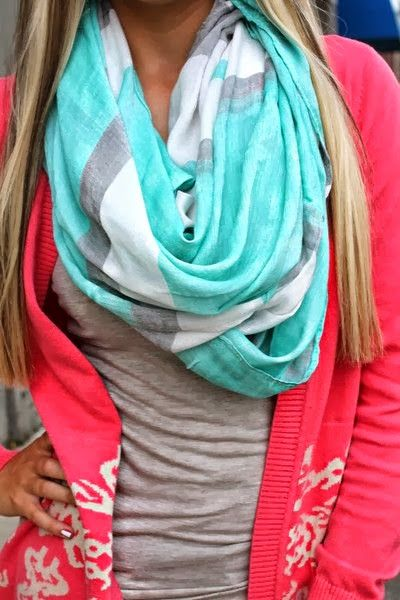 Super cute scarf, pink cardigan and grey shirt for fall