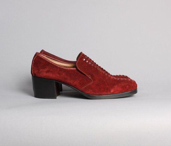 s 70s platform shoes burgundy suede unworn disco