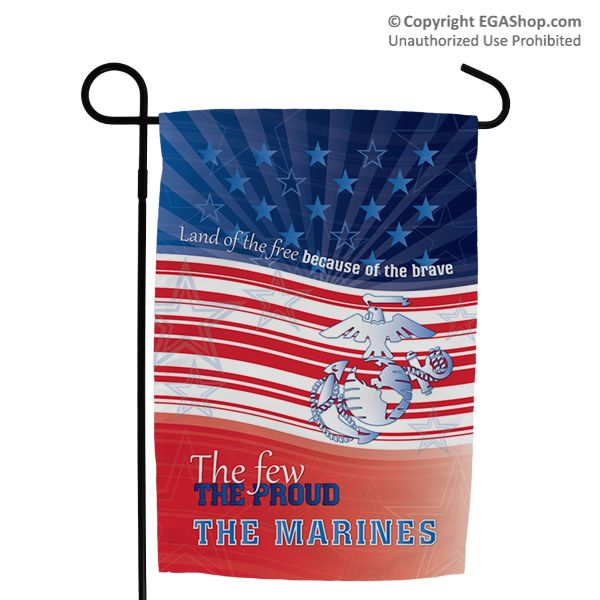 Garden flag land of the free because of the brave